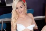 Schoolgirl Elsa Jean Flashes Her Panties and Titties